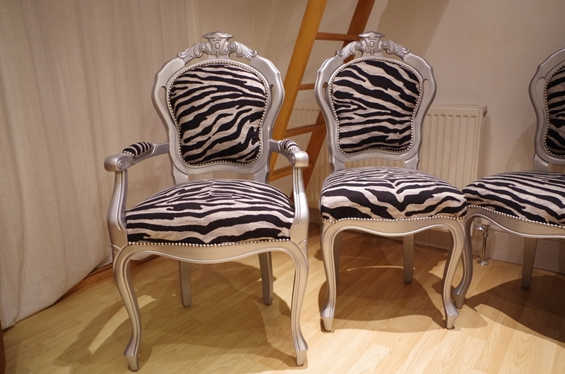 Silver Louis Style Chairs With Zebra Print Fabric Painted