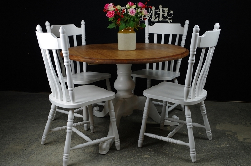 Round Pedestal Pine Table + 4 Farmhouse Chairs-Painted ...