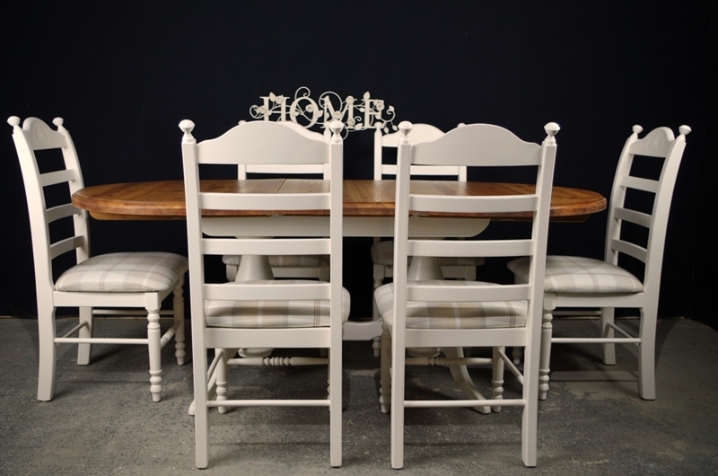 Oval Pine Twin Pedestal Table 6 Beech Ladder Backed