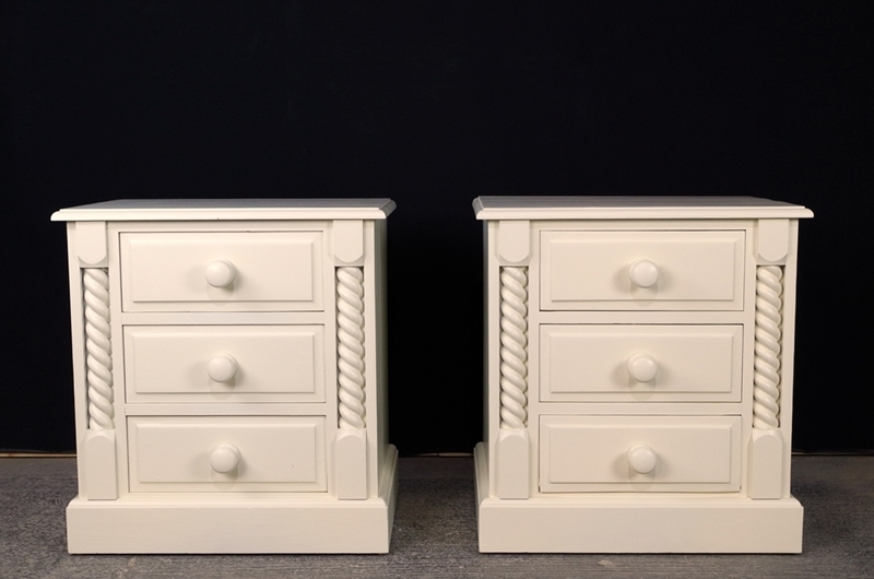 High Quality Pine Bedside Chests Painted Vintage Antique