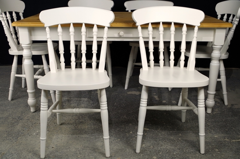 Picture Of Country Pine Farmhouse Table + 6 Beech Spindle Back Chairs