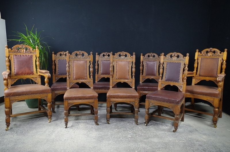 Antique Carved Oak Dining Chairs c1890 - Antique Carved Oak Dining Chairs C1890-Painted Vintage, Antique
