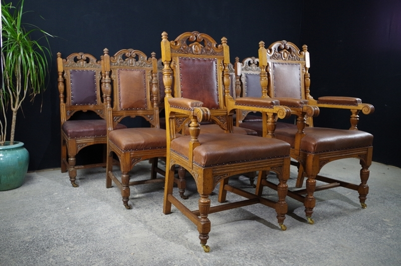 Picture of Antique Carved Oak Dining Chairs c1890 - Antique Carved Oak Dining Chairs C1890-Painted Vintage, Antique