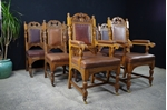 Picture of Antique Carved Oak Dining Chairs c1890