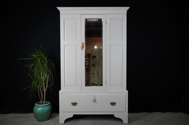 best service 1b798 216c4 Antique Wardrobe /Hall Cupboard with Mirrored Door-Painted ...