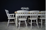 Picture of Lightly Distressed 6ft Pine Farmhouse Table + 8 Beech Slatback Chairs.