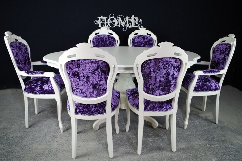 French Style Dining Table And 6 Chairs Painted Vintage