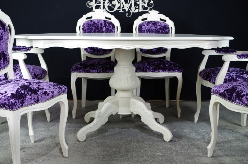 French Style Dining Table and 6 Chairs-Painted Vintage ...
