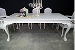 Picture of Large Vintage Carved Edge Dining Table + 8 Bergere Style Chairs