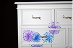 Picture of French Style 6 Drawer Chest with Artwork Blue/Lilac Alliums