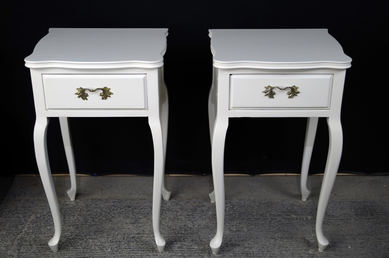 Two French Style Antique Bedside Tables Painted Vintage