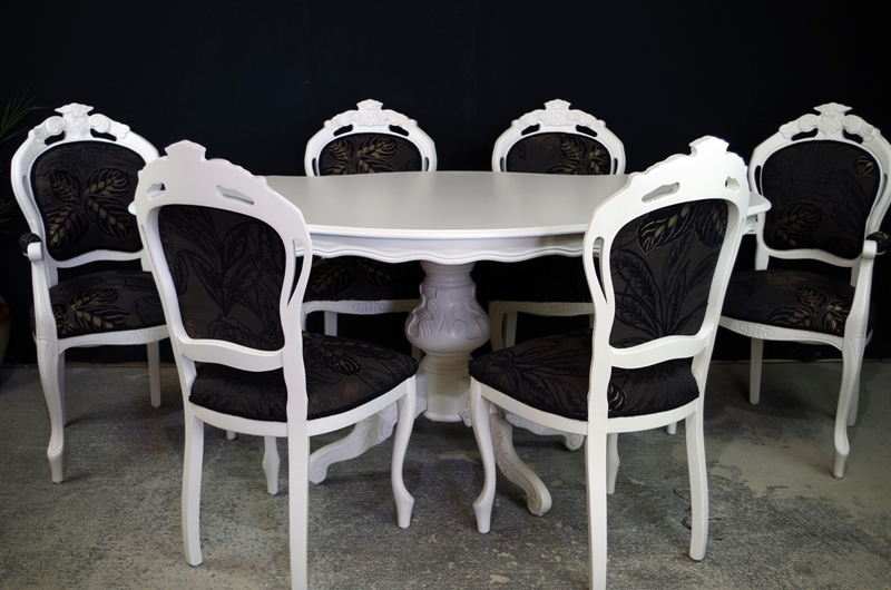 French style dining table with 6 louis chairs painted for French style dining room furniture