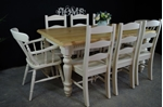 Picture of 6ft Carved Country Pine Farmhouse Table + 8 Chairs.