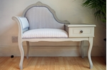 Picture of Vintage Occasional Seat With Side Table and Drawer