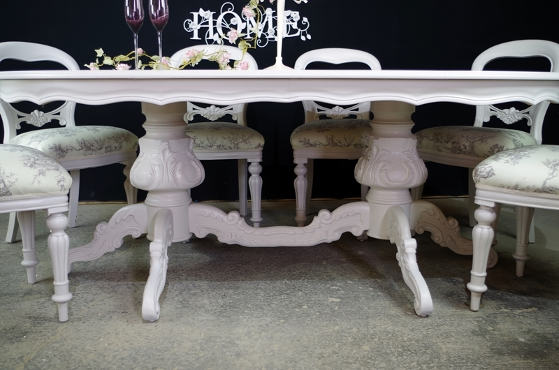 Picture Of Large French Style Double Pedestal Dining Table 8 Antique Balloon Back Chairs