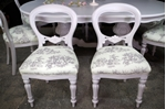 Picture of Large French Style Double Pedestal Dining Table + 8 Antique Balloon Back Chairs