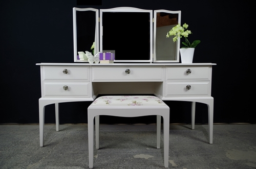 Picture of Stag Dressing Table with Stool in Slipper Satin