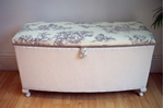 Picture of Vintage Lloyd Loom Ottoman - Toile de Jouy