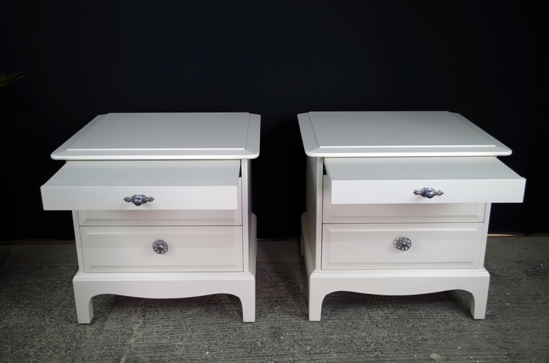 Pair Of Stag Bedside Tables Painted Vintage Antique