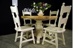 Picture of Round Oak Block Pedestal Table and 4 Oak Chairs