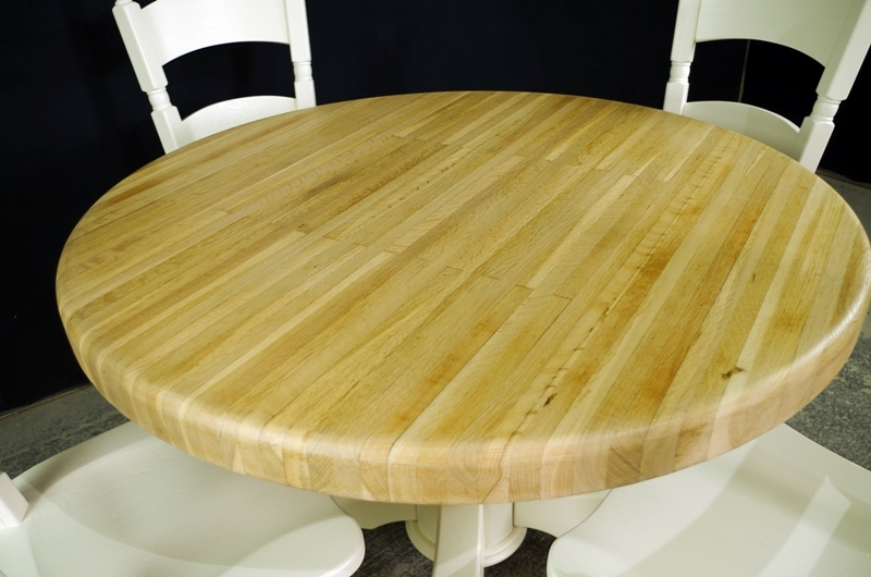 Round Oak Block Pedestal Table And 4 Oak Chairs Painted
