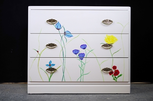 Picture of 3 Drawer Utility Chest - Original Flower Art