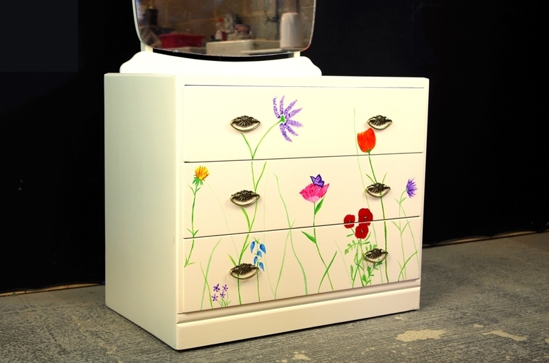 Picture of 3 Drawer Utility Dressing Table - Original Flower Art