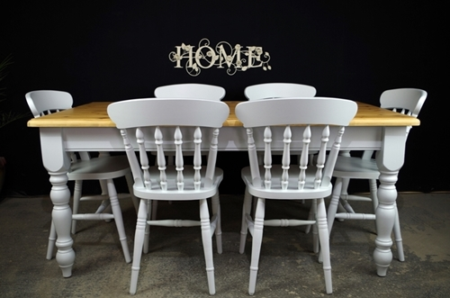 Picture of 5ft 6in Pine Farmhouse Table + 6 New Spindleback Chairs