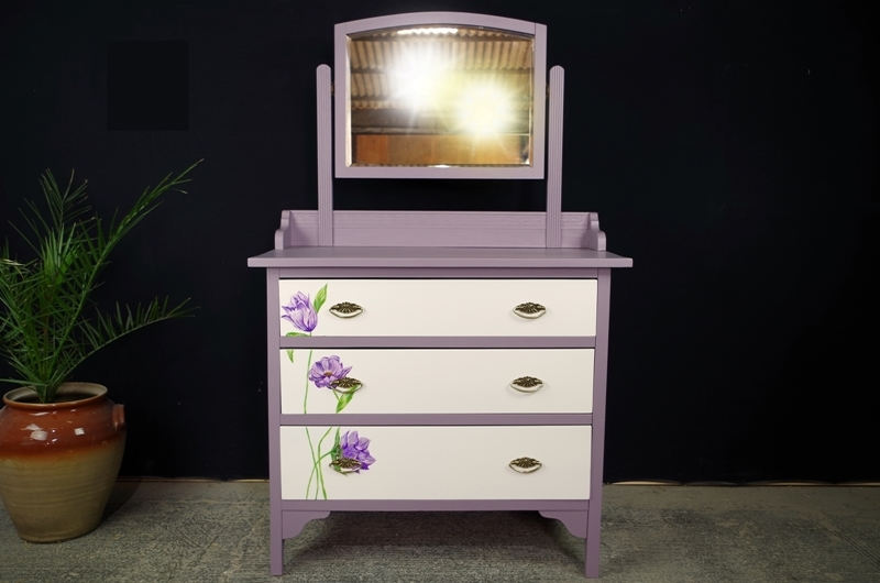 Art Deco 1920s Dressing Table With Original Flower Art Painted