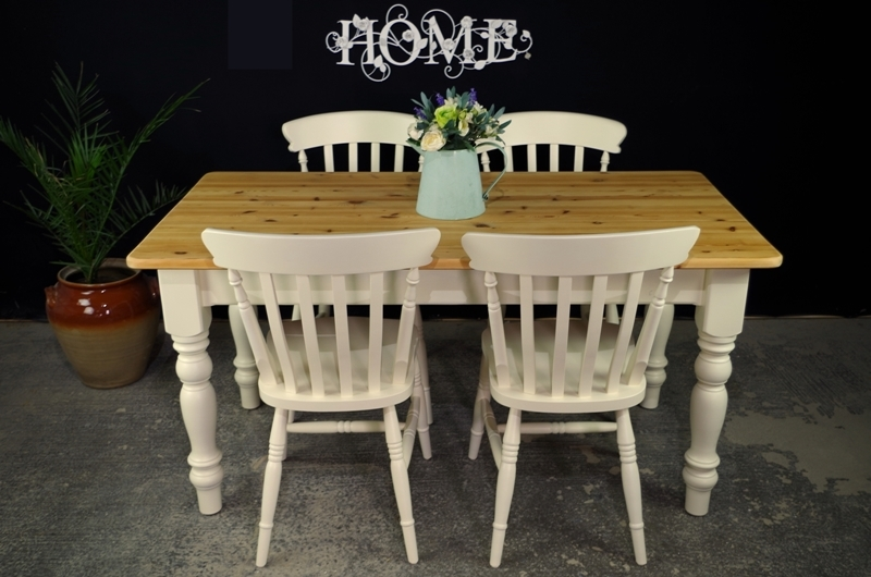 Picture of Pine Farmhouse table and 4 Beech Slatback chairs