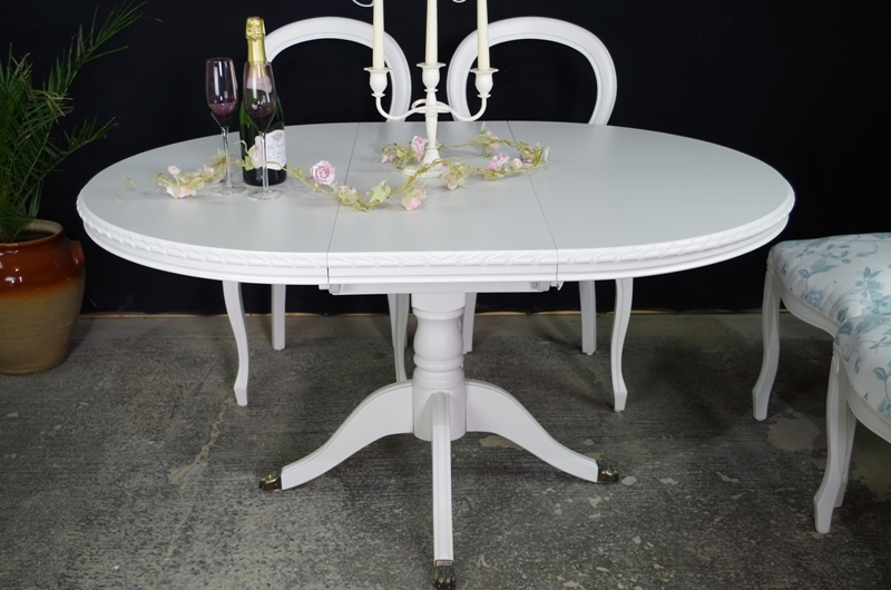 French Style Extending Dining Table And 6 Laura Ashley Upholstered