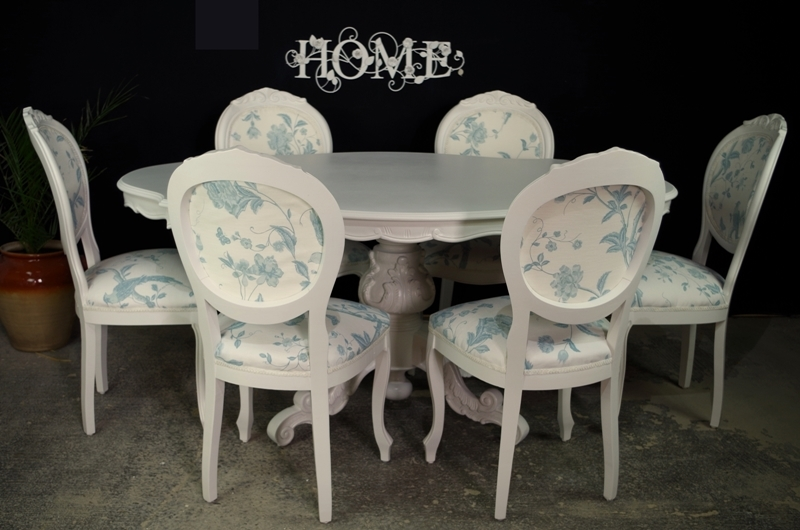 French Style Dining Table With 6 Laura Ashley Upholstered Chairs Painted Vintage Antique