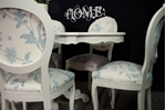 Picture of French Style Dining Table with 6 Laura Ashley Upholstered Chairs