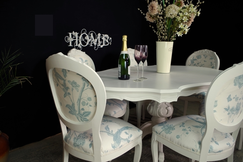 Pleasant French Style Dining Table With 6 Laura Ashley Upholstered Download Free Architecture Designs Embacsunscenecom
