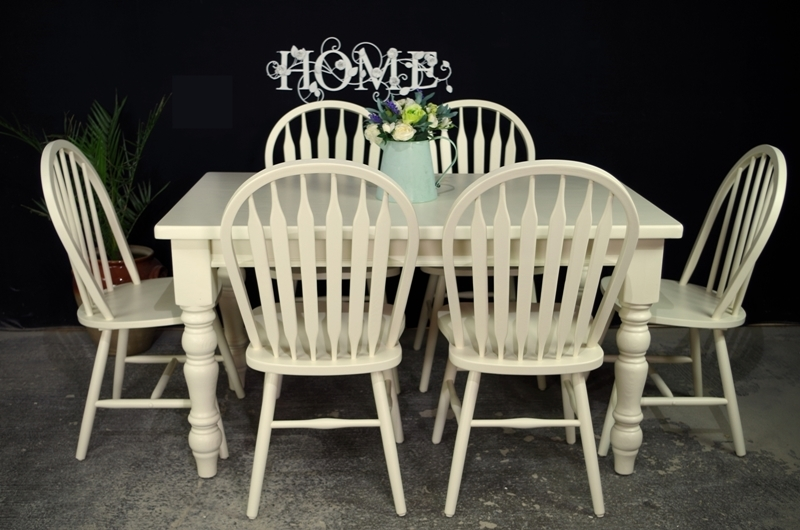 Painted Top Farmhouse Table 6 Bow Back Chairs Painted