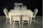 Picture of Painted Top Farmhouse Table + 6 Bow Back Chairs.