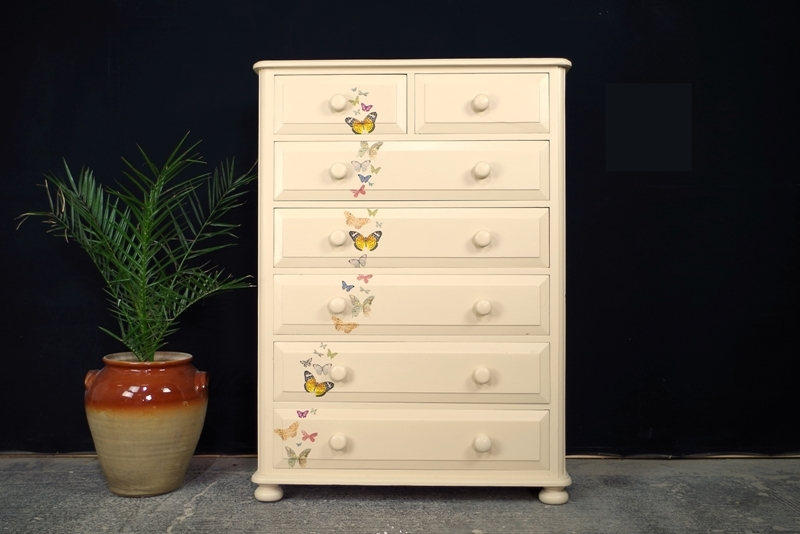 Picture of Tall Pine Vintage 7 Drawer Chest Kaleidoscope Of Butterflies