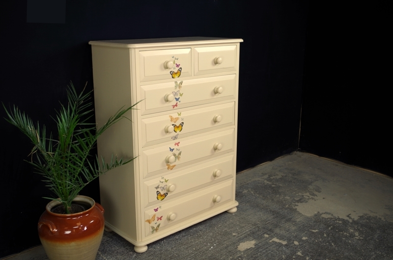 of tall stag effect painted chest picture vintage antique drawer lace dresser