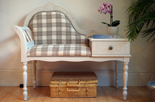 Picture of Vintage French Style Occasional Seat With Side Table and Drawer