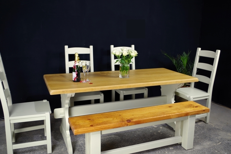 Oak Refectory 6 Ft Table 4 Oak Chairs Rustic Pine Bench