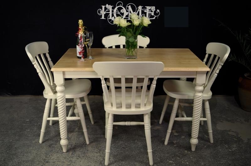 Farmhouse Table With Corkscrew Legs + 4 New Beech Farmhouse Chairs
