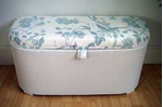 Picture of Vintage Lloyd Loom Ottoman -  Duck Egg Summer Palace