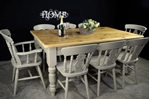 Picture of Large Reclaimed Pine 6ft Farmhouse Table and 8 Fiddleback Chairs