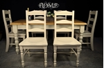 Picture of 5ft 6in Pine Farmhouse Table + 6 Ladderback Chairs with carved detailing