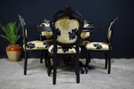 Picture of Louis French Style Round Pedestal Table + 5 Chairs in Black