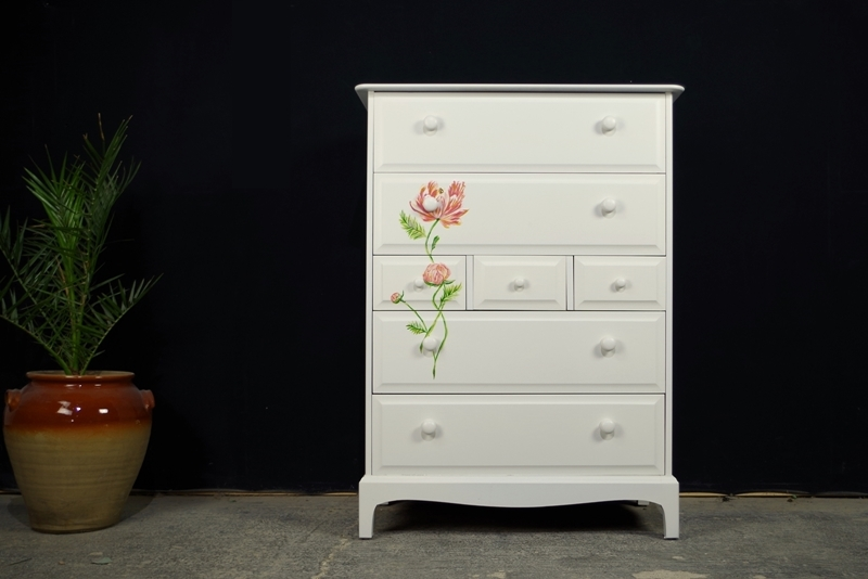Stag Tall 7 Drawer Chest Peonies Roses Artistic Design Painted