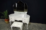 Picture of Vintage French Style Walnut Dressing Table with Stool