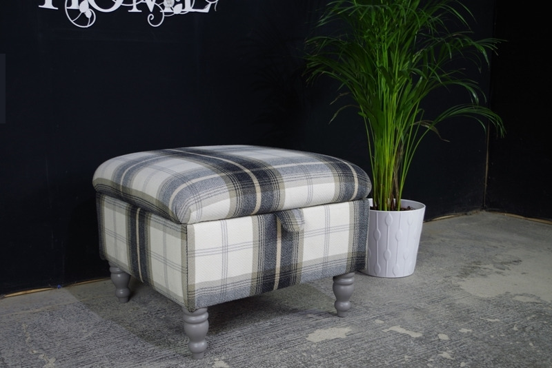 Picture of Large Handmade Upholstered Square Storage Footstool / Pouffe / Ottoman