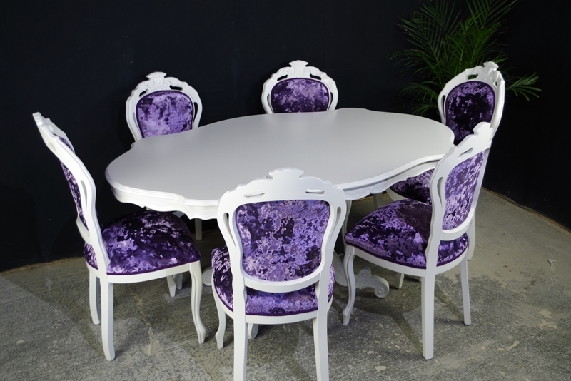 French Style Dining Table 6 Chairs Crushed Velvet