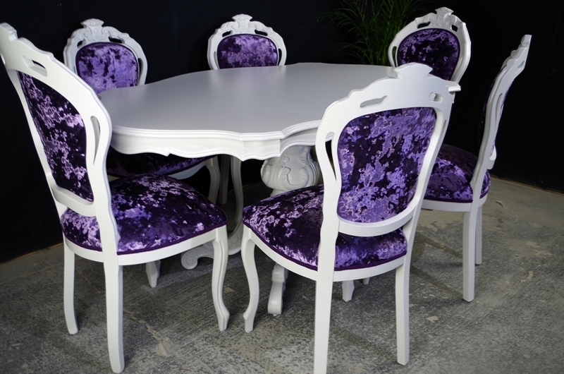Sensational French Style Dining Table 6 Chairs Crushed Velvet Painted Download Free Architecture Designs Embacsunscenecom